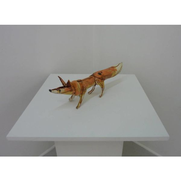 Standing fox 1 ceramic sculpture