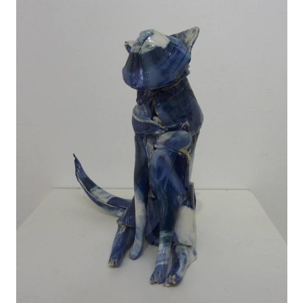 Small Blue Cat ceramic sculpture
