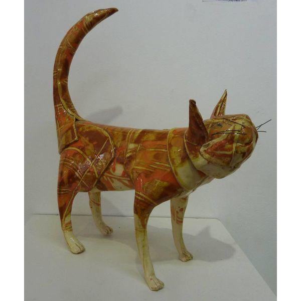 Standing Ginger Cat ceramic sculpture