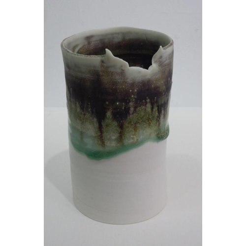 Emily Cross Tall Porcelain torn rim vase
