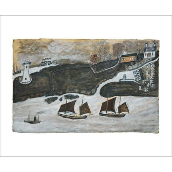 Two Ships and Steamer  card by Alfred Wallis