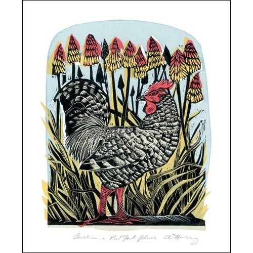 Art Angels Chicken and red Hot Pokers by Angela Harding