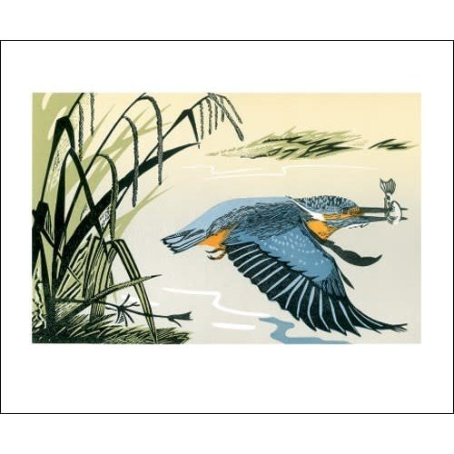 Art Angels Kingfisher Lino cut card by Pam Grimmond