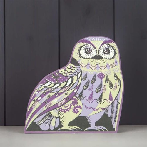 Art Angels Purple Owl cut card by Sarah Young