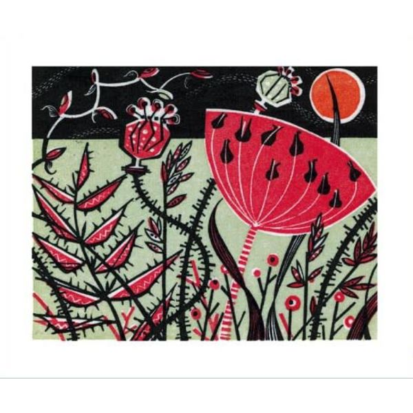Red Meadow card by Angie Lewin