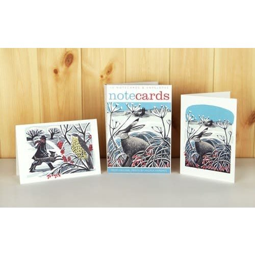 Art Angels Winter Hare and Thrush Notelets by Angela Harding