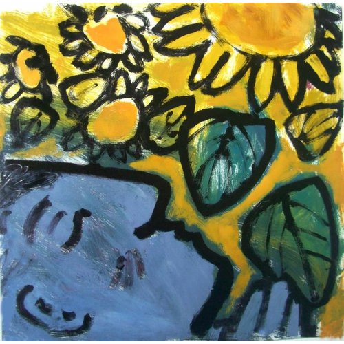 Adrienne Craddock Humming in the Sunflowers