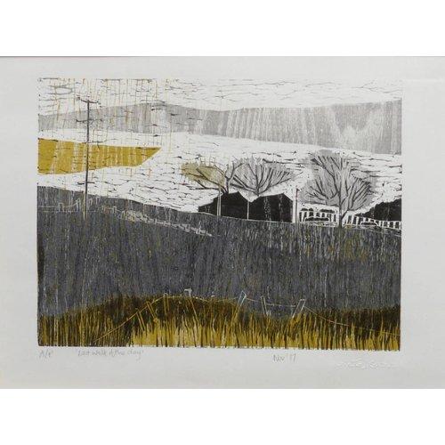 Anita J Burrows Last Walk of the Day - Woodcut