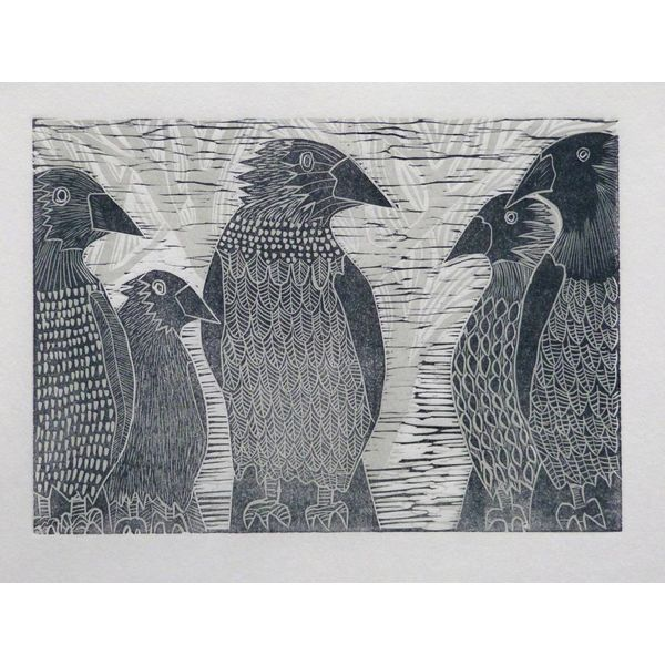 A Parliament of Crows - Woodcut
