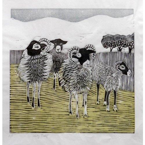 Anita J Burrows Sassy Sheep - Holzschnitt
