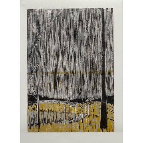 Anita J Burrows Raining Stair Rods on the Widdop Road- Woodcut