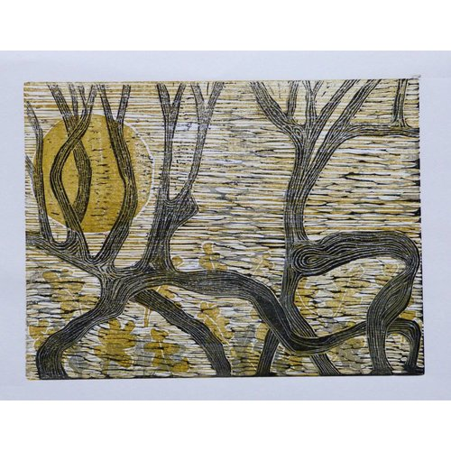 Anita J Burrows Duelling Hawthorn - Woodcut