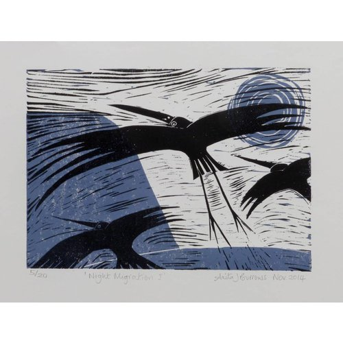 Anita J Burrows Night Migration - Linocut