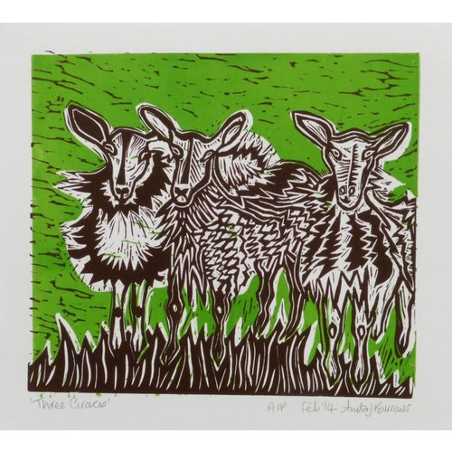 Anita J Burrows Three Graces - Linoblock