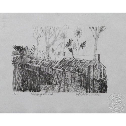 Anita J Burrows Nutclough Allotment- Lithograph Framed