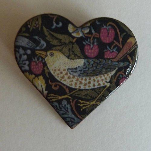 Stockwell Ceramics Heart Bird Heritage Brooch