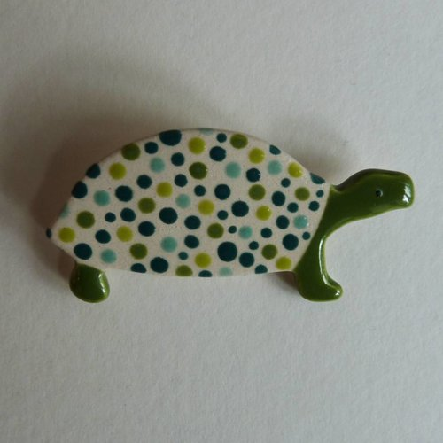 Stockwell Ceramics Green dotty Tortoise brooch