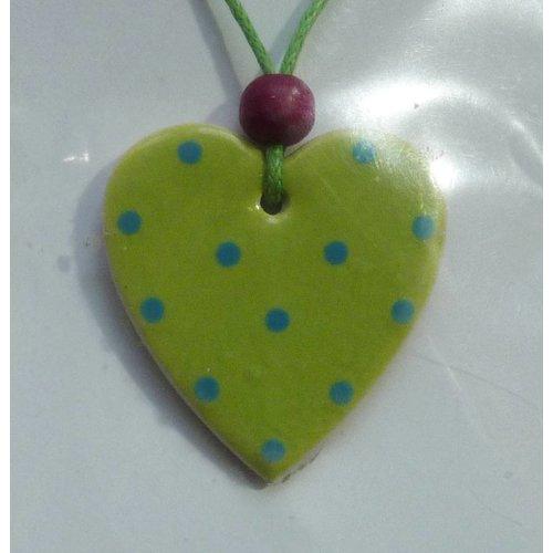 Stockwell Ceramics Heart Lime and blue dot pendant