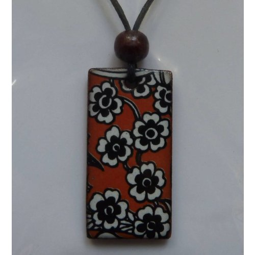 Stockwell Ceramics Orange Daisy pendant