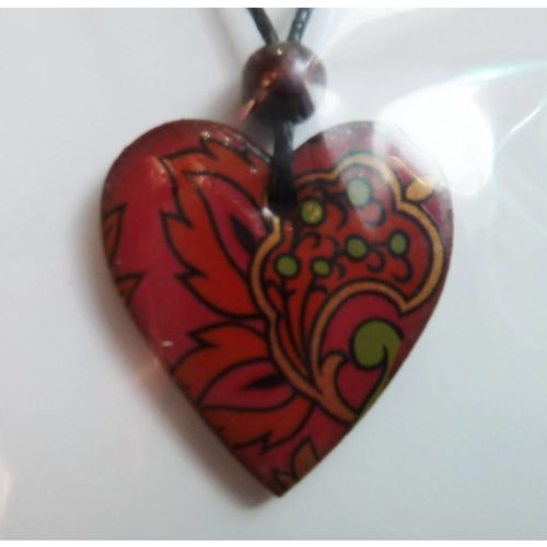 Stockwell Ceramics Heart dark red flowery pendant