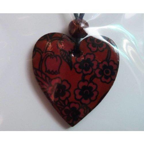 Stockwell Ceramics Heart Burnt orange daisy pendant