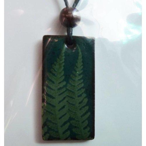 Stockwell Ceramics Fern leaf green pendant