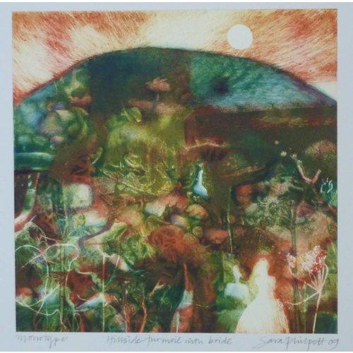 Sara Philpott Hillside Turmoil with Bride 20 x 20 cm