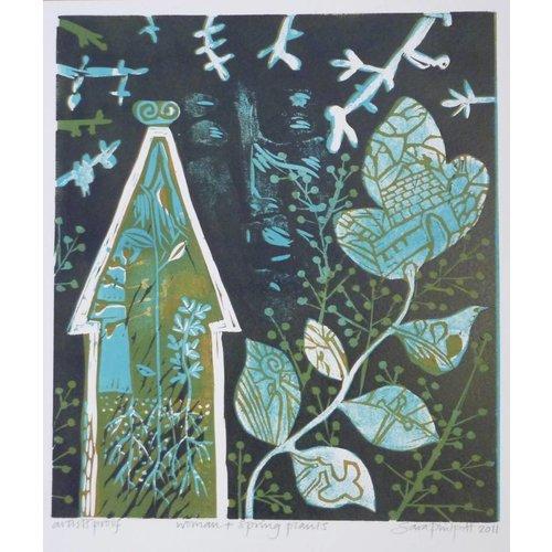 Sara Philpott Woman and Spring Plants 28 x 25 cm AP