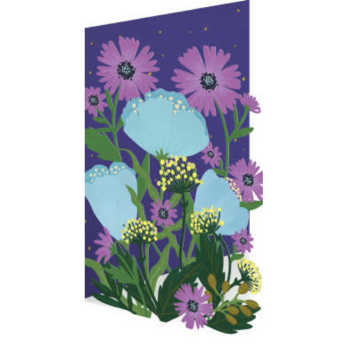 Roger La  Borde Blue and Purple Flowers Laser Card