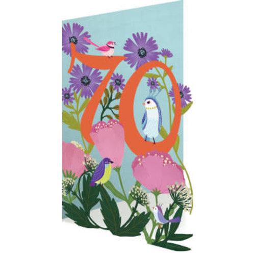 Roger La  Borde 70 Birthday Birds and Flowers Laser Card