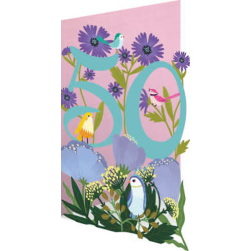 Roger La  Borde 50 Birthday Birds and Flowers Laser Card