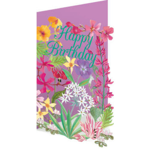 Roger La  Borde Copy of 50 Birthday Birds and Flowers Laser Card