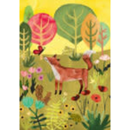 Roger La  Borde Fox and Butterfly  Card