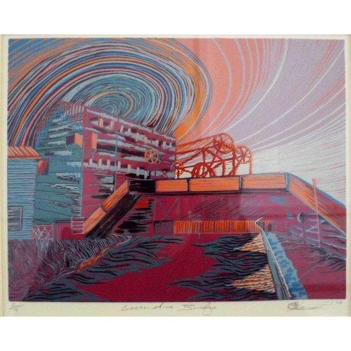 West Yorkshire Print Workshop Lokomotive Brücke