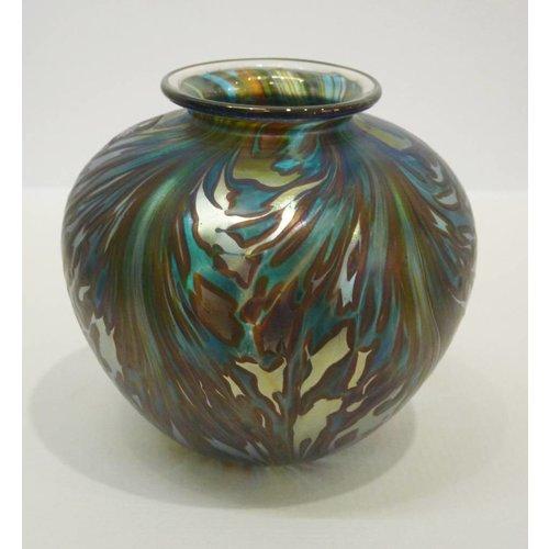 Isle of Wight Glass Featherspray Green Amphora