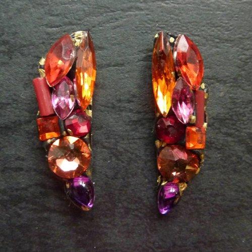 Annie Sherburne Vintage  orange red Stud crystal earrings