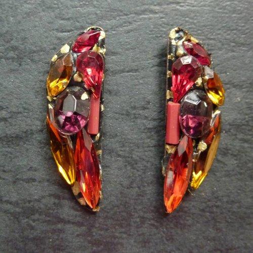 Annie Sherburne Copy of Vintage  orange red Stud earrings crystal assemblage