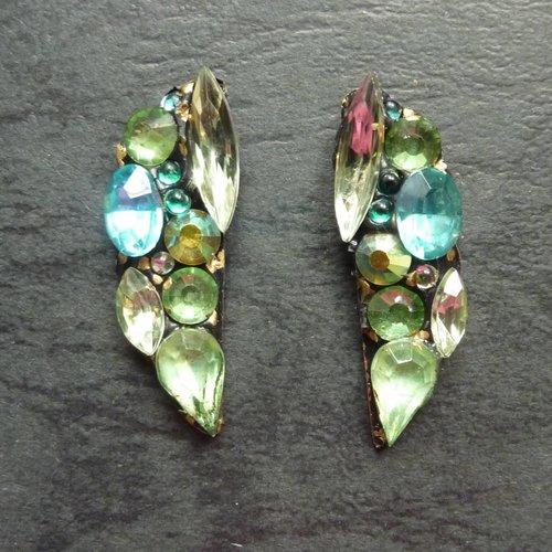 Annie Sherburne Vintage  pale green  Stud crystal earrings