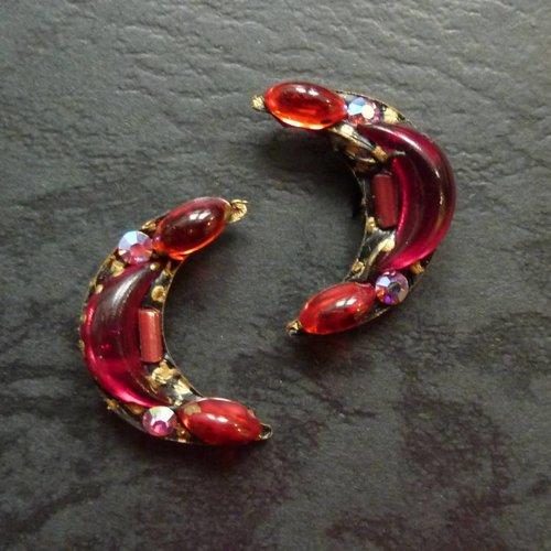 Annie Sherburne Vintage crecent stud crystal earrings