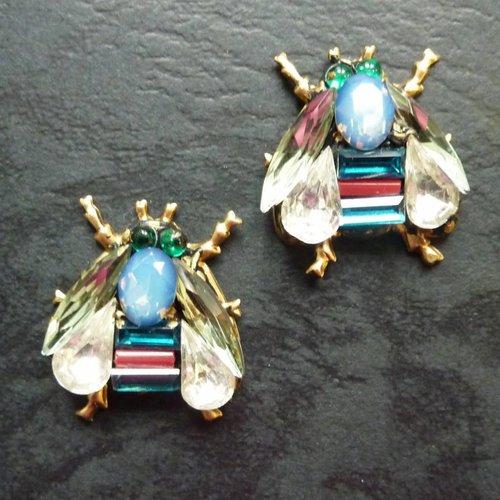 Annie Sherburne Copy of Vintage  red moon  Stud earrings crystal assemblage