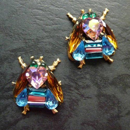Annie Sherburne Copy of Vintage  citrine wing bee  Stud earrings crystal assemblage