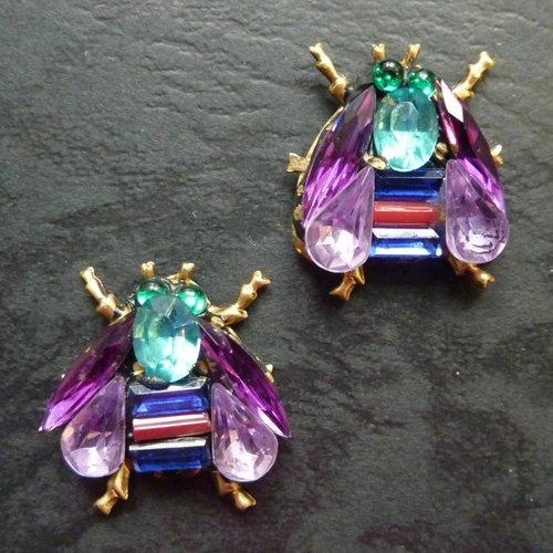 Annie Sherburne Copy of Vintage  gold wing bee  Stud earrings crystal assemblage