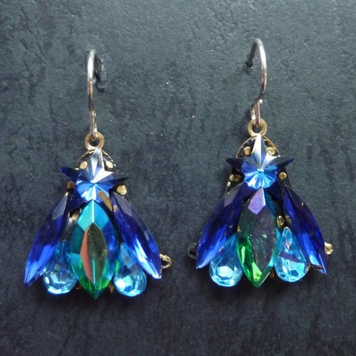 Annie Sherburne Copy of Vintage  Harebell multi drop earrings crystal assemblage