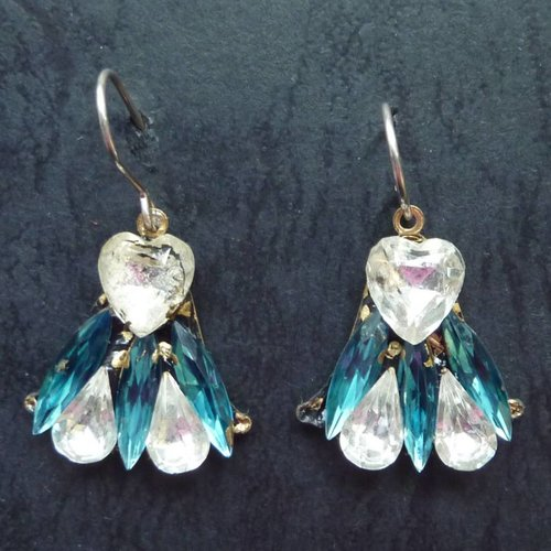 Annie Sherburne Copy of Vintage  Harebell red blue drop earrings crystal assemblage