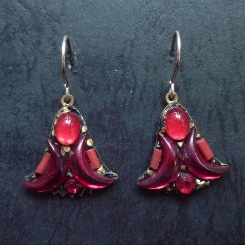 Annie Sherburne Vintage  Harebell red drop crystal earrings