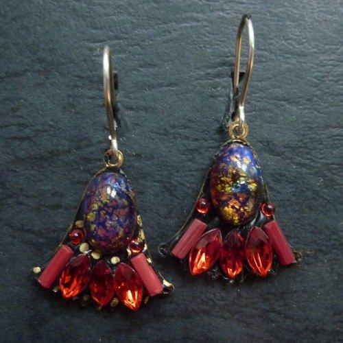 Annie Sherburne Vintage  Harebell red blue drop crystal earrings