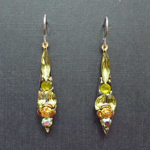 Annie Sherburne Copy of Vintage  Harebell red drop earrings crystal assemblage