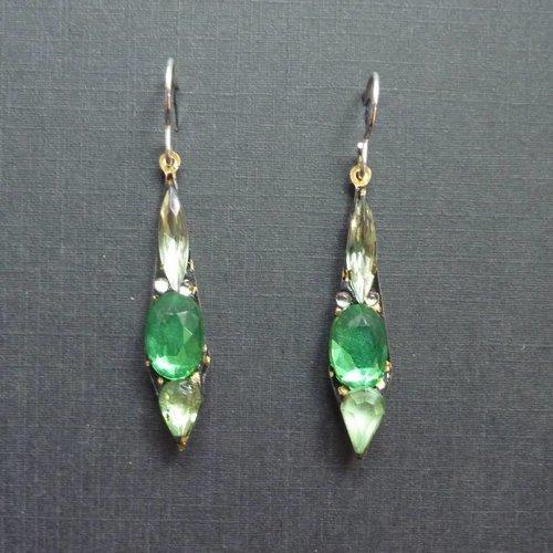 Annie Sherburne Copy of Vintage  green Icicle drop earrings crystal assemblage