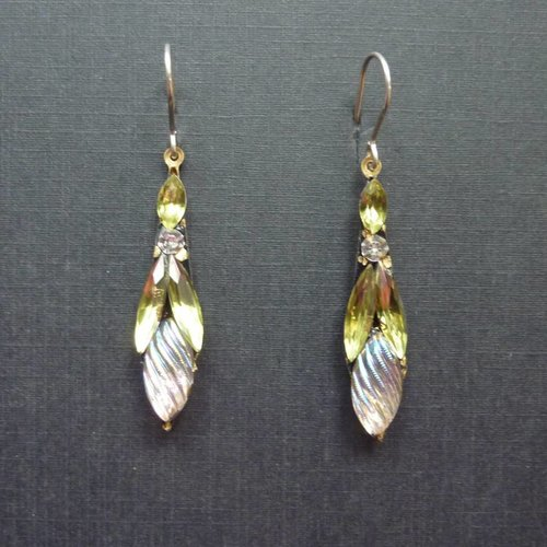 Annie Sherburne Copy of Vintage  green white Icicle drop earrings crystal assemblage