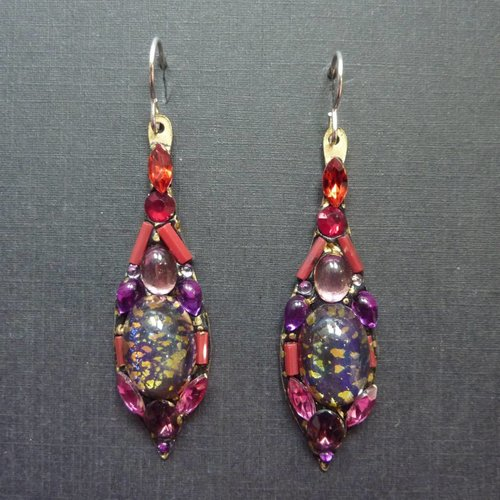 Annie Sherburne Copy of Vintage  multi Icicle drop earrings crystal assemblage